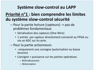 Système slow-control au LAPP