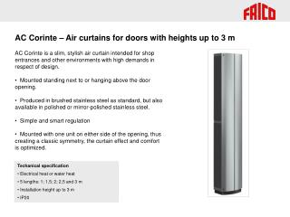 AC Corinte – Air curtains for doors with heights up to 3 m
