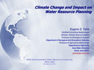 Climate Change and Impact on  Water Resource Planning