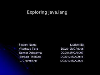Exploring  java.lang