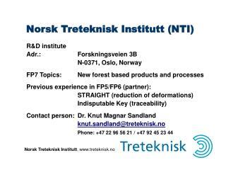 Norsk Treteknisk Institutt NTI