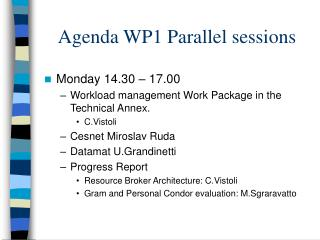 Agenda WP1 Parallel sessions