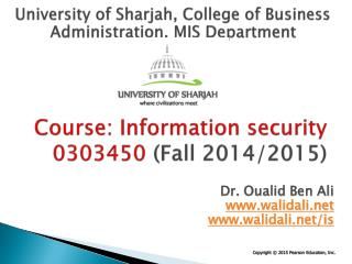 Course: Information security 0303450  (Fall 2014/2015)