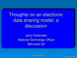 Thoughts on an electronic data sharing model: a discussion