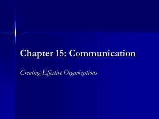 Chapter 15: Communication