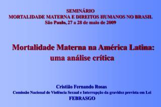 SEMINÁRIO  MORTALIDADE MATERNA E DIREITOS HUMANOS NO BRASIL São Paulo, 27 a 28 de maio de 2009