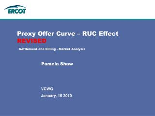 Proxy Offer Curve – RUC Effect REVISED Settlement and Billing - Market Analysis