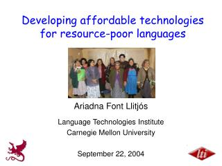 Developing affordable technologies for resource-poor languages