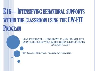Understanding  Problem  Behavior in Urban Classrooms