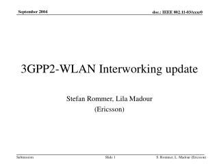 3GPP2-WLAN Interworking update