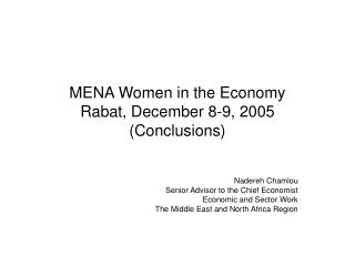 MENA Women in the Economy Rabat, December 8-9, 2005 (Conclusions)