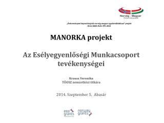 MANORKA projekt Az Esélyegyenlőségi Munkacsoport tevékenységei Krausz Veronika