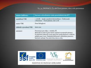 Vy_32_INOVACE_Čj.1.08-Čtení písmen, slov a vět-prezentace