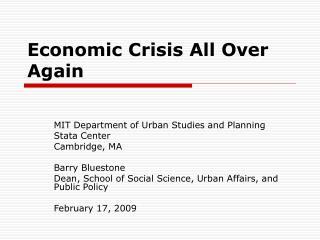 Economic Crisis All Over Again