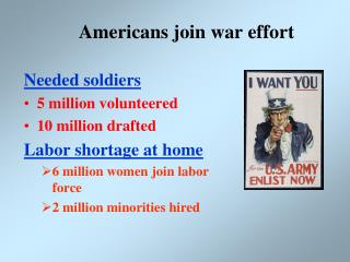 Americans join war effort