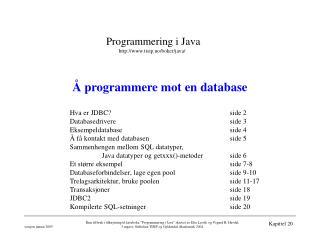 Å programmere mot en database