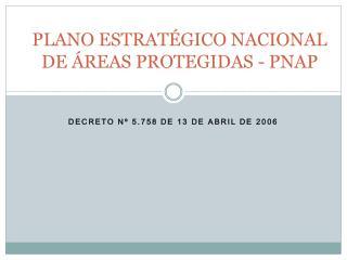PLANO ESTRATÉGICO NACIONAL DE ÁREAS PROTEGIDAS - PNAP