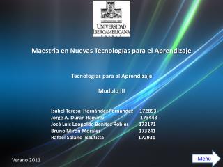 Maestría en Nuevas Tecnologías para el Aprendizaje