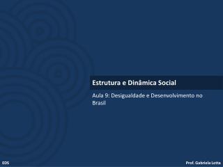 Aula 9: Desigualdade e Desenvolvimento no Brasil