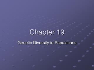 Genetic Diversity in Populations