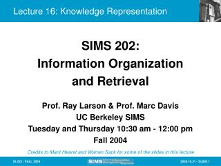 Lecture 16: Knowledge Representation