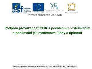 Podpora provázanosti NSK spočátečním vzděláváním  a posilování její systémové úlohy a úplnosti