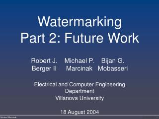 Watermarking Part 2: Future Work