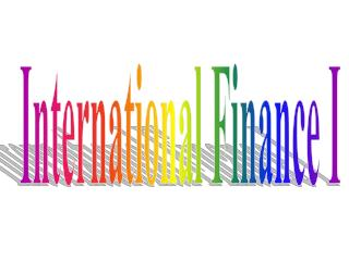 International Finance I