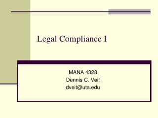 Legal Compliance I
