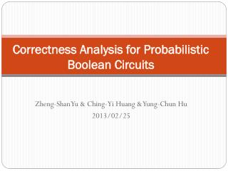 Correctness Analysis for Probabilistic Boolean Circuits