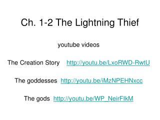 Ch. 1-2 The Lightning Thief