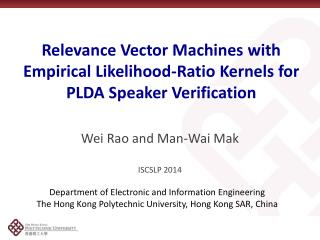 Relevance Vector Machines with Empirical Likelihood-Ratio Kernels for PLDA Speaker Verification