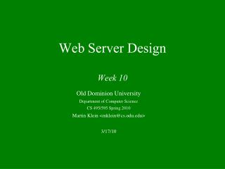 Web Server Design Week 10