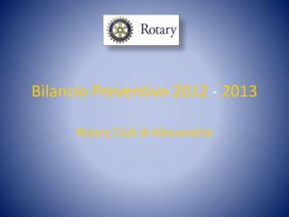 Bilancio Preventivo 2012  -  2013