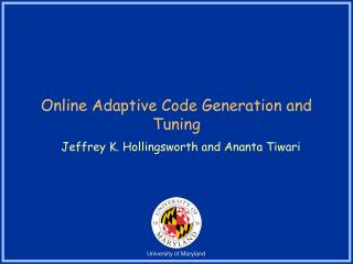 Online Adaptive Code Generation and Tuning