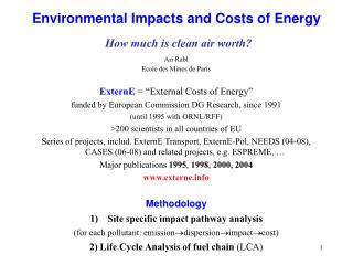 Environmental Impacts and Costs of Energy How much is clean air worth?
