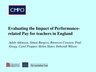 Evaluating the Impact of Performance-related Pay for teachers in England