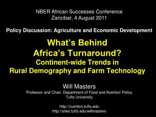 What s Behind  Africa s Turnaround Continent-wide Trends in  Rural Demography and Farm Technology