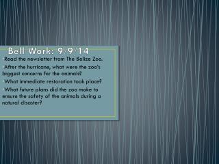 Bell Work: 9/9/14