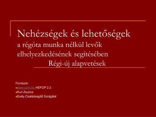 Források:  szmi.hu  HEFOP 2.2  Kun Zsuzsa Esély Családsegítő Szolgálat