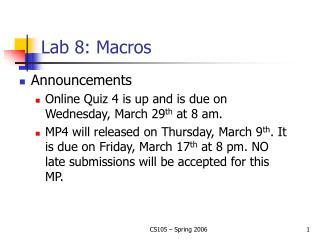 Lab 8: Macros