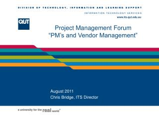 "Project Management Fo rum ""PM's and Vendor Management"""