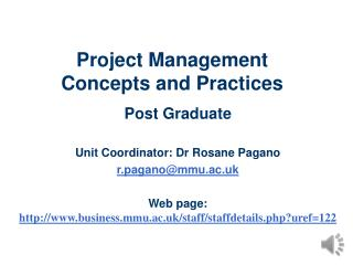Project Management  Concepts and Practices