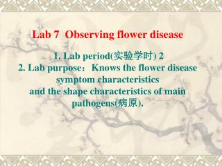 Lab 7  Observing flower disease 1. Lab period( 实验学时 ) 2