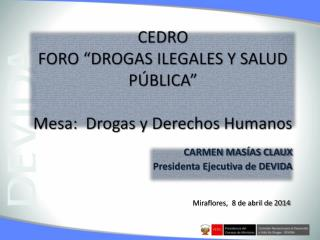 """CEDRO FORO """"DROGAS ILEGALES Y SALUD PÚBLICA"""" Mesa:  Drogas y Derechos Humanos"""
