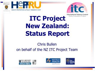 ITC Project  New Zealand:  Status Report