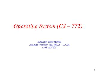 Operating System (CS – 772)