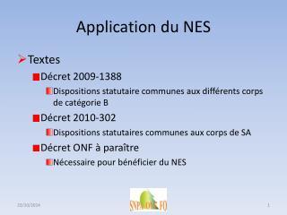Application du NES