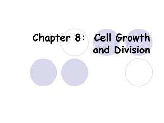 Chapter 8:  Cell Growth and Division