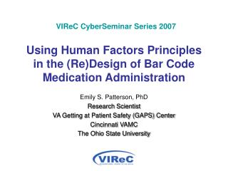 VIReC CyberSeminar Series 2007